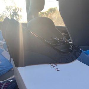 Black coach peep toe wedges